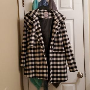 Forever 21 brand black and white plaid trench coat